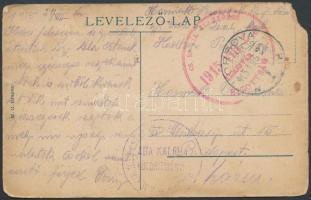 1915 Tábori posta képeslap M.KIR. II. SZ. CSENDŐR ... + CS. ÉS KIR. ELLENŐRZŐ 1915 VIII. 23 TEMESVÁR BIZOTTSÁG + ORSOVA