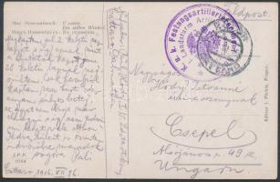 1916 Tábori posta képeslap K.u.k. Festungsartillerieregiment / I. Landsturm Artilleriekompagnie