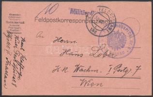 1915 Tábori posta levelezőlap K.u.k. FESTUNGSSPITAL Nr.8. / KRAKAU + FP 186