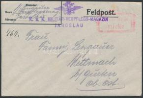 1915 Tábori posta levél tartalommal K.u.k. MILITÄR-VERPFLEGS-MAGAZIN JAROSLAU