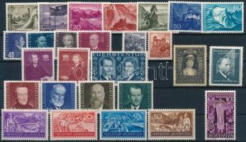 Liechtenstein 1937-1961 27 diff stamps with sets, Liechtenstein 1937-1961 27 klf bélyeg, közte jobbak