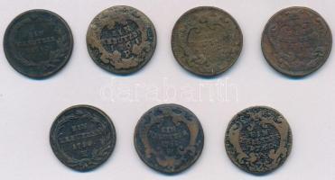 Ausztria 1760-1780. 1kr Cu (7x) klf verdejelekkel (W,H,P) T:2-,3 Austria 1760-1780. 1 Kreuzer Cu (7x) with diff mintmarks (W,H,P) C:VF,F
