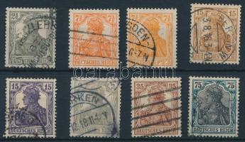 1916-1918 Germania (V-VII) 3 klf kiadás Mi 98-100, 101b, 102-104