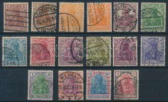 1920 Germania (VIII) sor színváltozatokkal Mi 140-143, 144 II-149 II, 150-153