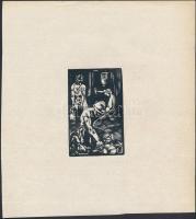 Andor Loránd (1906-1966): Bányászok. Linó, papír, jelzés nélkül, 8,5×5,5 cm