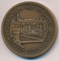 1985. Budapest Kongresszusi Központ Megnyitására vastag Br emlékérem (43mm) dísztokban T:1- kis ph.