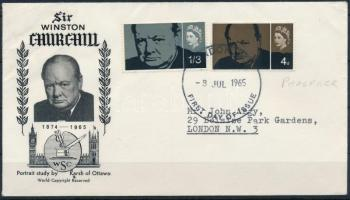 1965 Churchill sor Mi 384-385 y FDC-n
