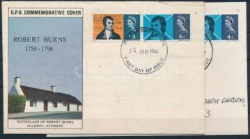 1966 Robert Burns sor Mi 408-409 x+y 2 db FDC-n