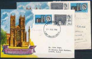1966 700 éves a Westminster-apátság Mi 416-417 x+y 2 db FDC-n