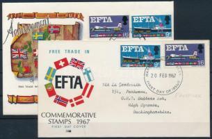 1967 EFTA sor Mi 444-445 x+y 2 db FDC-n