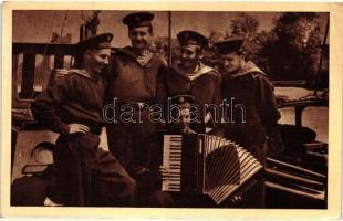 Sailors, Hungarian communist propaganda, Mert előttünk Sztálin jár, Nótánk messze száll... dunai matrózok, modern lap