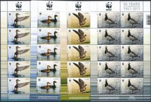 WWF Birds mini sheet set WWF: Madarak kisívsor