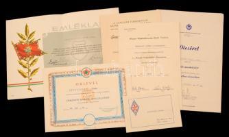 1962-1986 Grodovszki József hadnagy számára kiállított oklevelek, emléklapok, 6 db