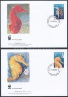 WWF Seahorse set 4 FDC, WWF: Tengeri csikók sor 4 db FDC-n