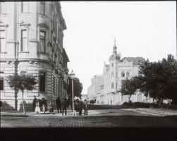 cca 1910 Eszék, Felsőváros, Üvegnegatív. 8x8 cm