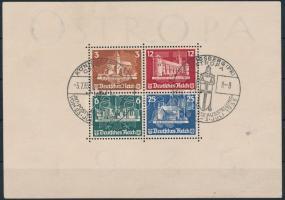 1935 OSTROPA Bélyegkiállítás blokk alkalmi bélyegzéssel Mi 3 (pici elvékonyodás a kereten / thin paper on margin)