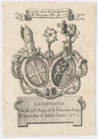 cca 1778 Magyar(?) egyházi személy címere, rézmetszet, papír, jelzés nélkül, 13,5×9,5 cm /  cca 1778 Coat-of-arms of a Hungarian(?) ecclesiastical notability, copper etching, on paper, unsigned, 13,5×9,5 cm