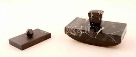 Márvány-fa tapper, 15×8×8 cm + vas levélnehezék, 10×6×3,5 cm