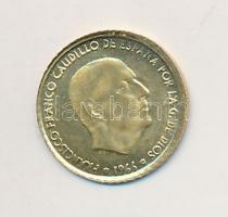 Spanyolország 1966. 100P Caudillo aranyozott fém modern mini fantáziapénz (10mm) T:2 Spain 1966. 100 Pesetas Caudillo gilt metal modern mini coin (10mm) C:XF