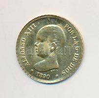 Spanyolország 1890. 5P XIII. Alfonz aranyozott fém modern mini fantáziapénz (10mm) T:2 Spain 1890. 5 Peseta Alfonso XIII gilt metal modern mini coin (10mm) C:XF