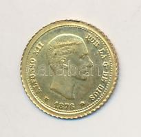 Spanyolország 1876. 25P XII. Alfonz aranyozott fém modern mini fantáziapénz (10mm) T:2 Spain 1876. 25 Peseta Alfonso XII gilt metal modern mini coin (10mm) C:XF