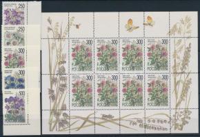 1995 Virágok ívsarki sor + kisív Mi 435-439