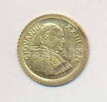 Vatikán DN XXIII. János aranyozott fém modern mini fantáziapénz (10mm) T:2 karc Vatican ND John XXIII gilt metal modern mini coin (10mm) C:XF scratched