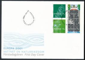 2001 Europa CEPT, Éltető víz 4-es tömb Mi 2232-2235 FDC-n