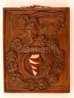Báthory címeres falikép, festett keménycserép, jelzett, 29×23 cm