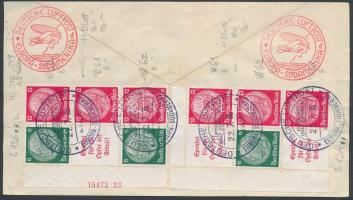 Hindenburg 2 ívsarki hatostömb füzetösszefüggés, az egyik HAN számmal légi levél hátlapon Hindenburg 2 units from booklet on airmail cover backside