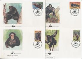 WWF Chimpanzee set 4 FDC, WWF: Csimpánz sor 4 db FDC-n