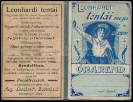 cca 1910 Leonhardi tentái szecessziós, reklámos órarend füzet. Kitöltetlen 8x11 cm