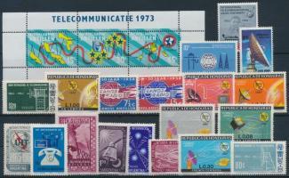 1954-1973 International telecommunication 19 stamps + stripe of 3, 1954-1973 Nemzetközi távközlés motívum 19 klf bélyeg + hármascsík