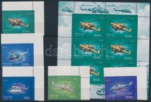 1997 Helikopter ívsarki sor + kisív Mi 586-590