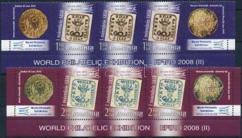 International Stamp Exhibition EURO 2008, Bucharest (II) 2 values corner stripes of 3, Nemzetközi Bélyegkiállítás EURO 2008, Bukarest (II) 2 érték ívsarki szelvényes hármas csíkban