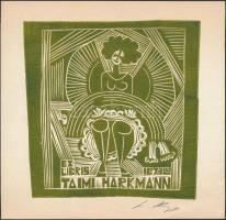 Olvashatatlan jelzéssel: Taimi Harkmann. Linó, papír, jelzett, 13x13 cm