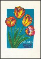Herbert Ott(1915-?): Paula Holl ex libris. Fametszet, papír, jelzett a dúcon, 12x9 cm