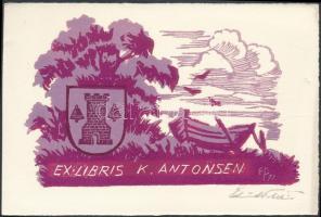 Olvashatatlan jelzéssel: Ex libris K Antonsen. Linó, papír, jelzett, 7x11 cm