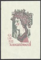 prof. Jaroslav Vodrázka (?-?) : Ex libris, linómetszet, papír, 10x7cm