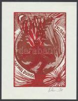 Leboroni, Maria Elisa (?- ): Ex libris Dafinel Duinea (1921-1998), fametszet, papír, jelzett, 13×10 cm