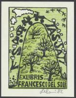 Leboroni, Maria Elisa (?- ): Ex libris Francesco del Sole, fametszet, papír, jelzett, 10,5×8 cm