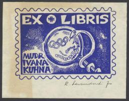 Lewandowski, Rajmund (1927- ): Ex libris Mudr Ivana Kuhna, klisé, papír, jelzett, 7,5×10 cm