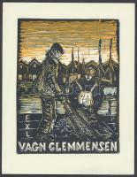 Soerensen, Poul (1896-1969) (?):  Ex libris Vagn Glemmensen, linó, papír, jelzett a dúcon, 16,5×13 cm