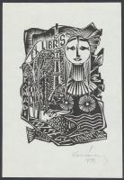 Kovács Csilla(?-?) : Ex libris, linó, papír, jelzett, 10x7cm