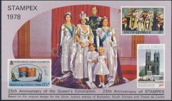 STAMPEX - Queen Elizabeth II. memorial sheet, STAMPEX - II. Erzsébet királynő emlékív
