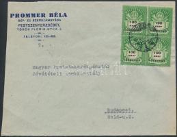 Inflation cover, (27. díjszabás) Távolsági levél Adópengő 100ezerAP négyestömb bérmentesítéssel (szétnyitott boríték)