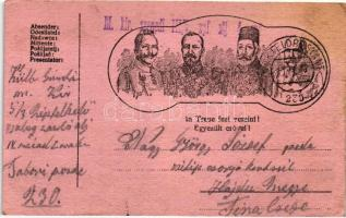 In Treue fest vereint / Wilhelm II, Mehmed V, Ferdinand I of Bulgaria, Central powers propaganda, Egyesült erővel, II. Vilmos császár, V. Mehmed, I. Ferdinánd, I. világháborús központi hatalmak propagandalap