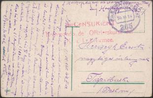 1918 Tábori posta képeslap Kommando de Offizierskurse der K.u.k. 1. Armee + EP 265