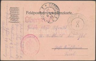 1915 Tábori posta levelezőlap K.u.k. GARNISONSSPITAL in OLMÜTZ