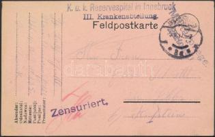 1917 Tábori posta levelezőlap K.u.k. Reservespital in Innsbruck III. Krankenabteilung